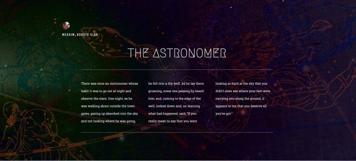 The Astronomer - Aesop's Fable with awesome typography!