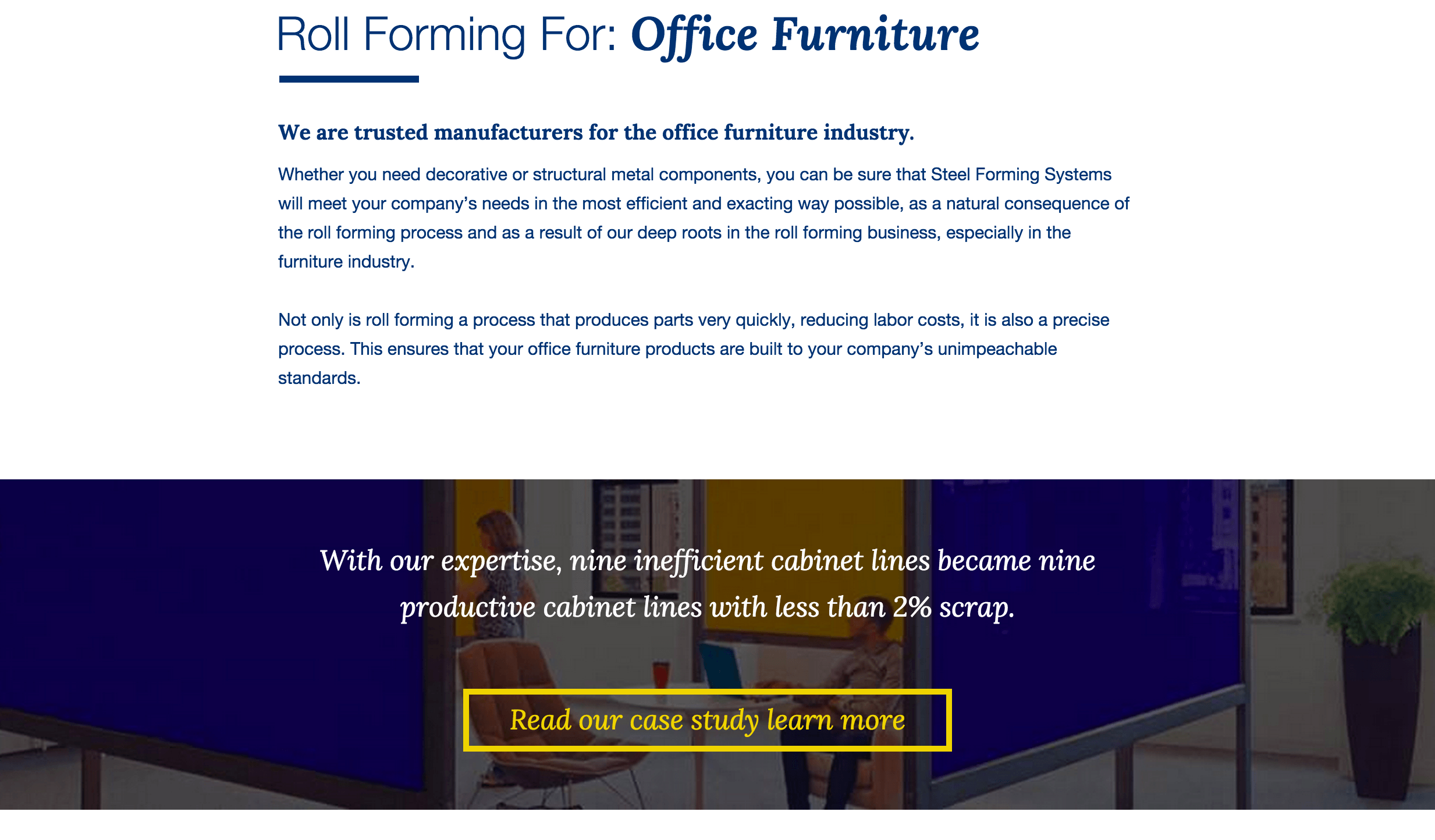 Example Manufacturing Case Study - Roll Forming for Office Furniture Industry